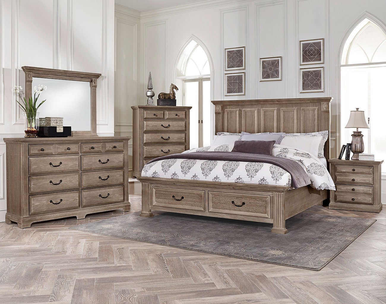 Woodlands Mansion Storage Bedroom Set Driftwood Vaughan