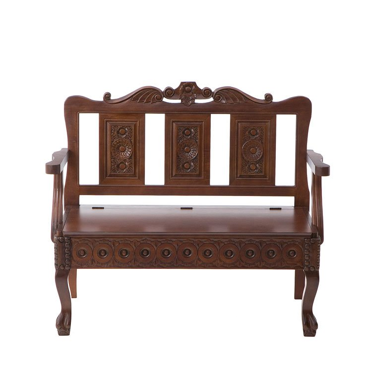 mahogany hand carved storage settee