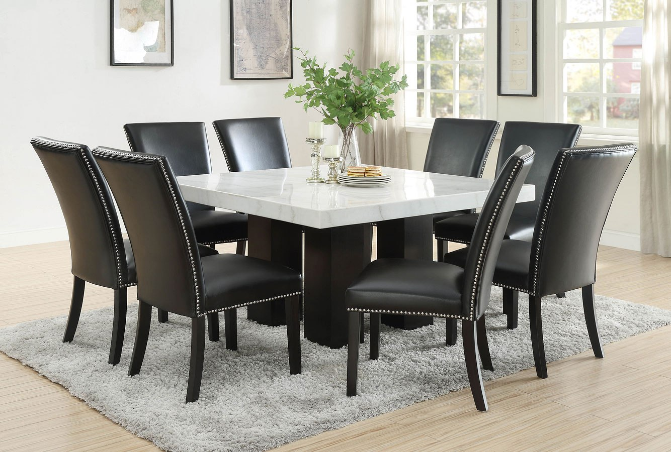 Camila Square Dining Room Set W Black Pu Chairs Steve Silver Furniture Furniture Cart