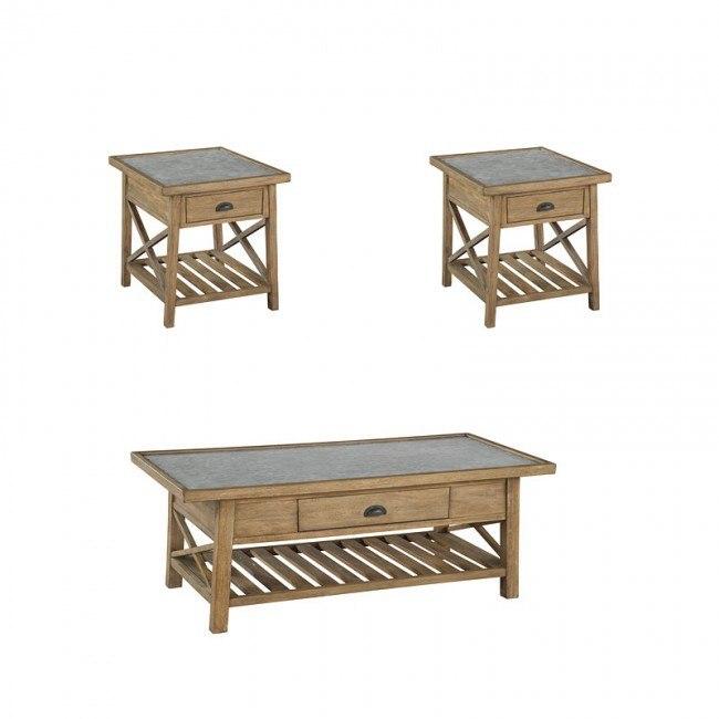 galvanized metal top rectangular occasional table set
