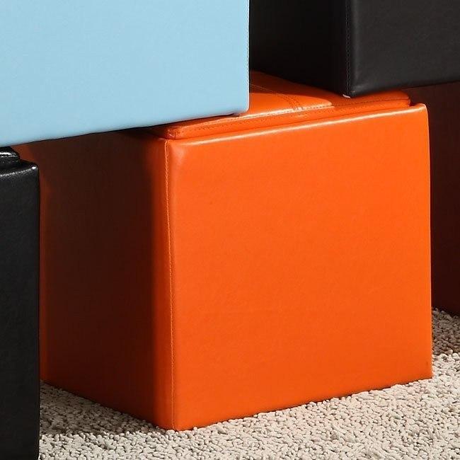 ladd storage cube ottoman orange