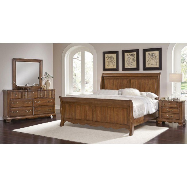 villa sophia sleigh bedroom set cherry