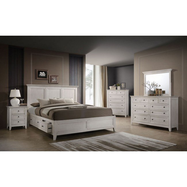 san mateo storage bedroom set rustic white