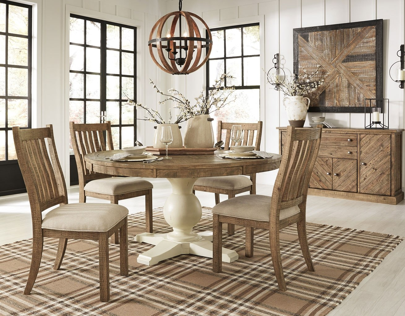 Grindleburg Round Dining Room Set W Light Brown Chairs Signature Design Furniture Cart