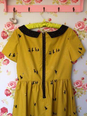 Handmade Emery dress in Cotton & Steel Zephyr - Citron Breeze (Metallic)