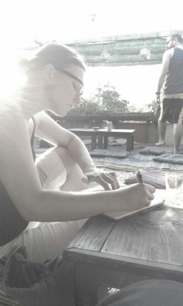 Taking notes on a roof top bar in Chiang Mai, Thailand