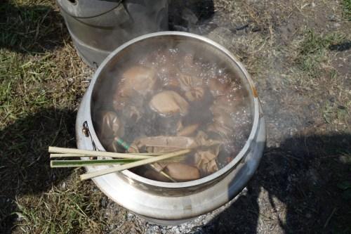 ノグルミでの草木染め(煮染め)