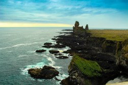 east shore with lava cliffs and black sand