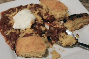 Chili and cornbread. I always top with cheese and sour cream.