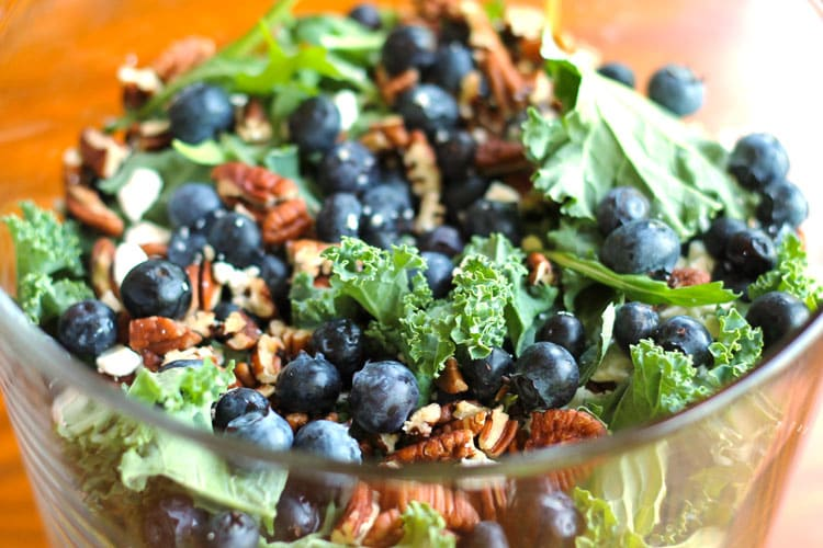 Blueberry and Feta Kale Salad