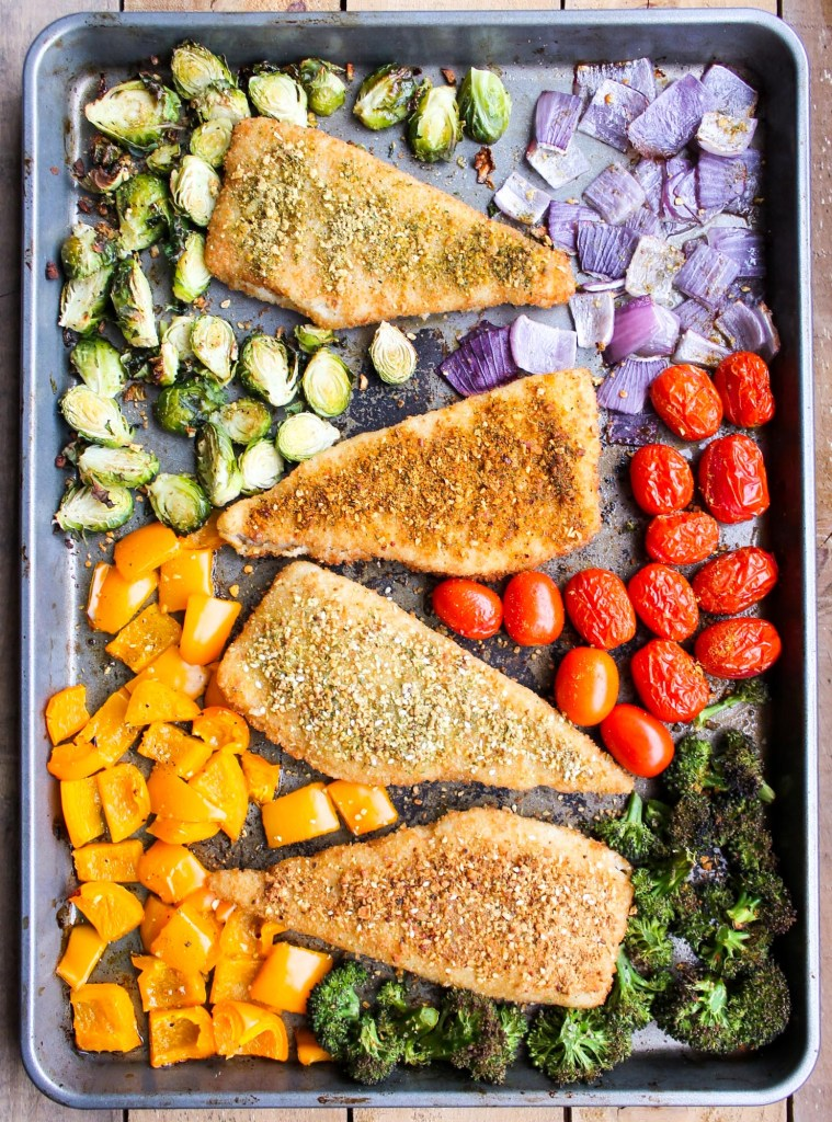 30-Minute One Pan Fish and Vegetables, meal prep recipes, easy dinner recipes