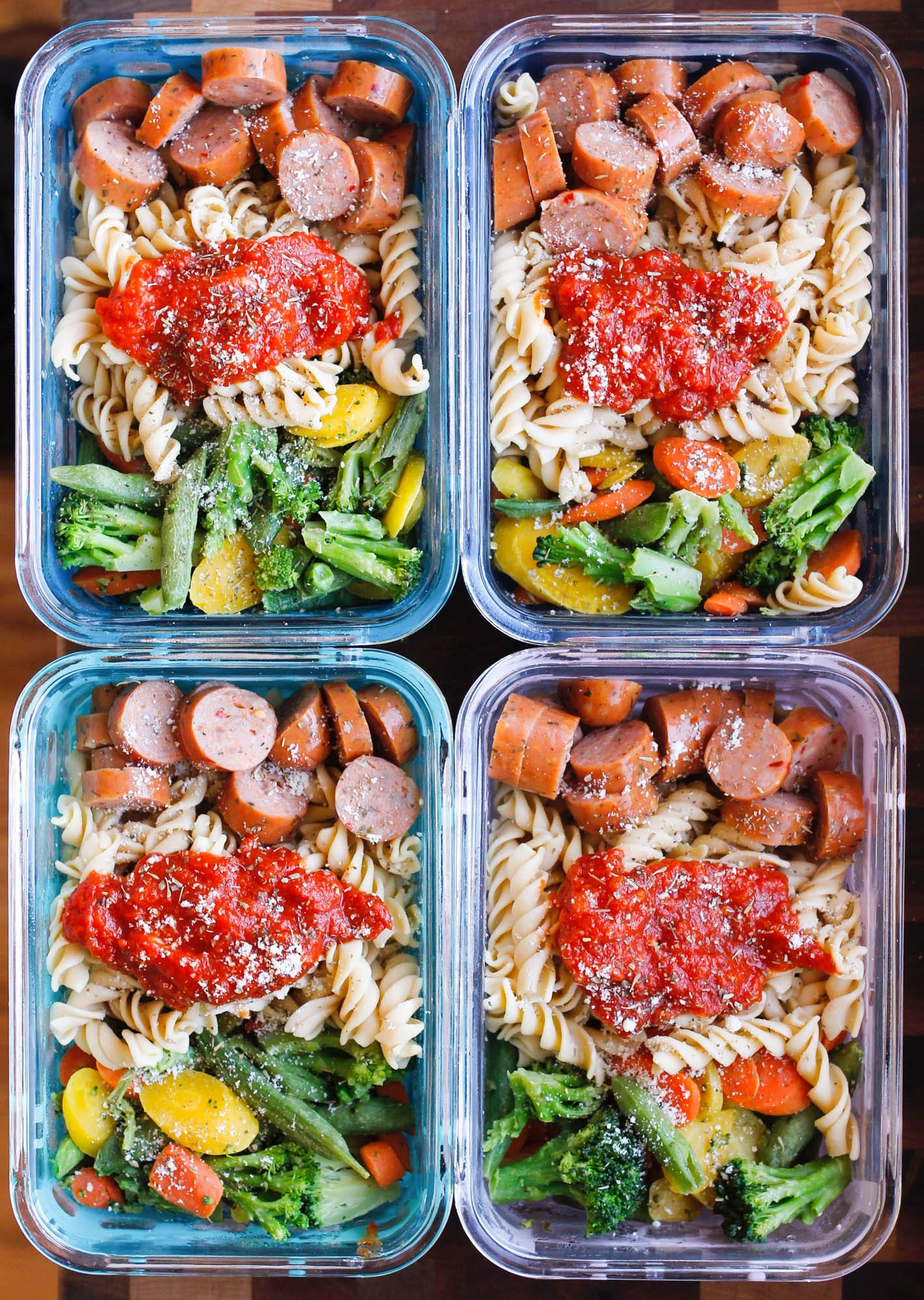 15 Minute Chicken Sausage Pasta Meal Prep Bowls