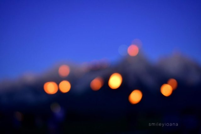 Themed Mountain Fires: Lights in the night. Mountain View from Zugspitze Arena in Tirol