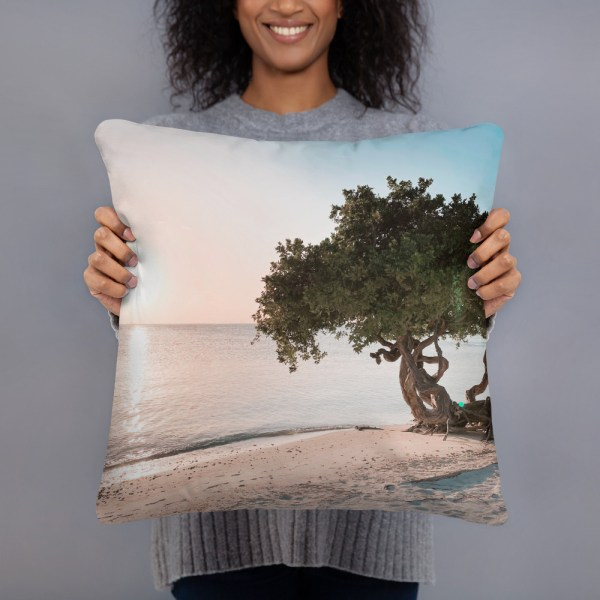 smileyioana.com | Divi Divi Tree at Sunset, Aruba Throw Pillow