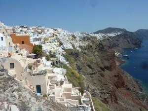 Vue sur Oia depuis la citadelle