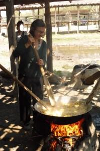 Cuisson des boulettes riz/potiron