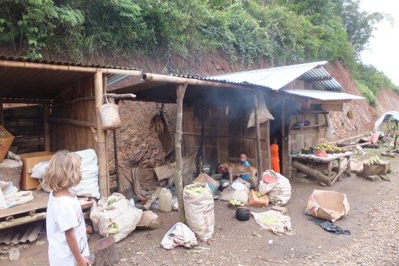 Petit marché/habitations en bord de route