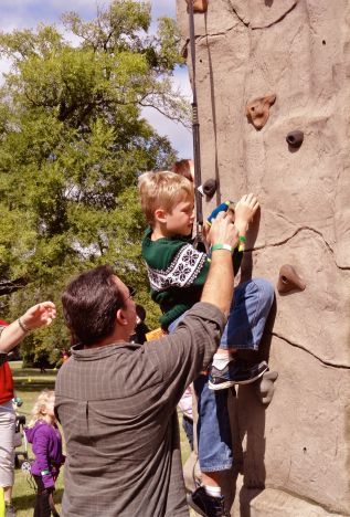 Nephew and great nephew learning to climb