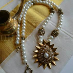 ON-SM-13 white pearl and antique golden