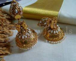 Temple Jewellery traditional jhumka, Jhumki earrings Kemp, Jewellery