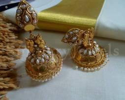 Temple Jewellery traditional jhumka, Jhumki earrings Kemp, Jewellery
