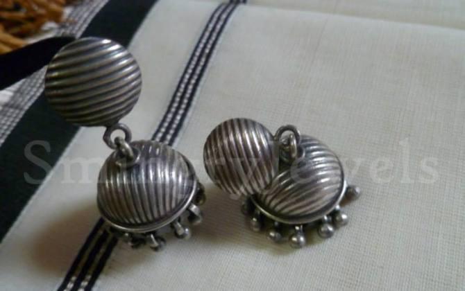 antique silver Jhumka,Temple Jewellery traditional jhumka,Jhumki earrings Kemp