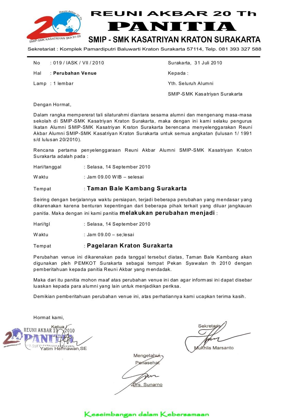 Tempat Reuni Akbar Pindah Ya Catatan Alumni Smip Kasatriyan