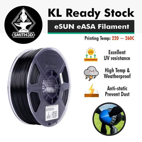 UV resistant, high temperature and weatherproof, anti-static, prevents dust feature of eSUN eASA ASA Filament