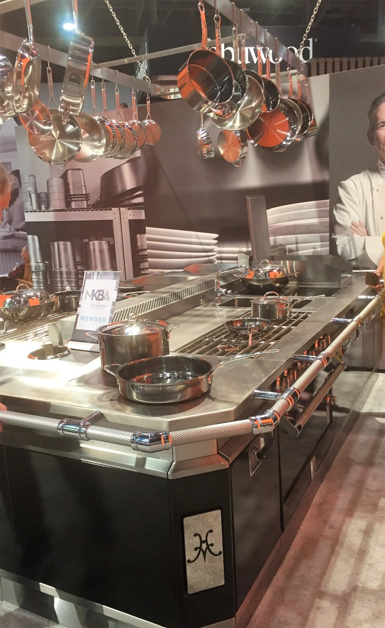 Hestan luxury appliances commercial restaurant and hotel cooking island with pot rack