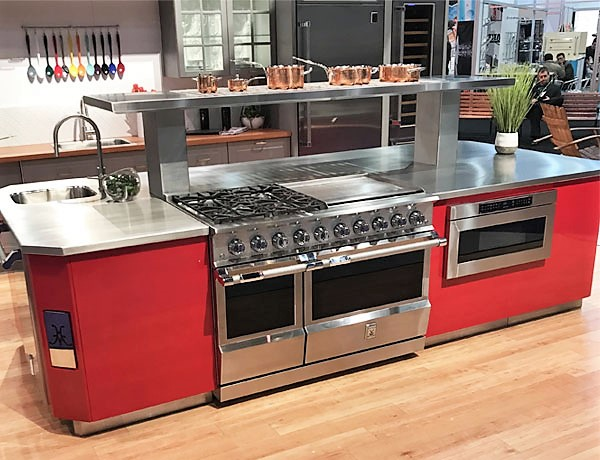 Hestan stainless steel luxury appliances in red island