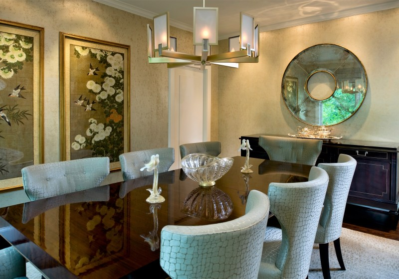 traditional gold and aqua dining room