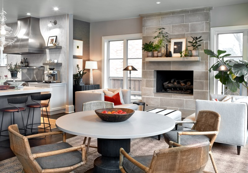 breakfast table and fireplace in kitchen