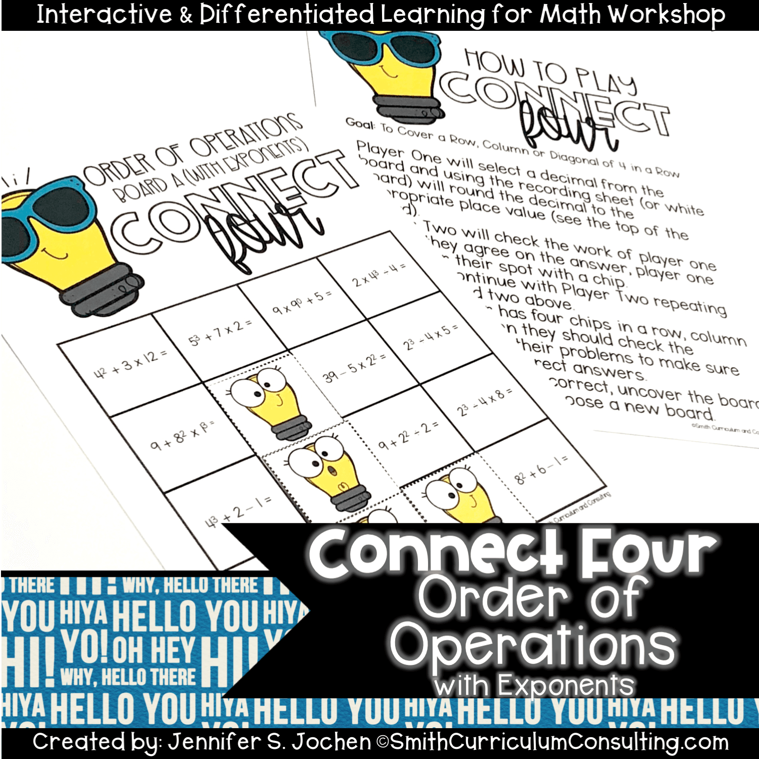 Connect Four Order Of Operations With Exponents Game