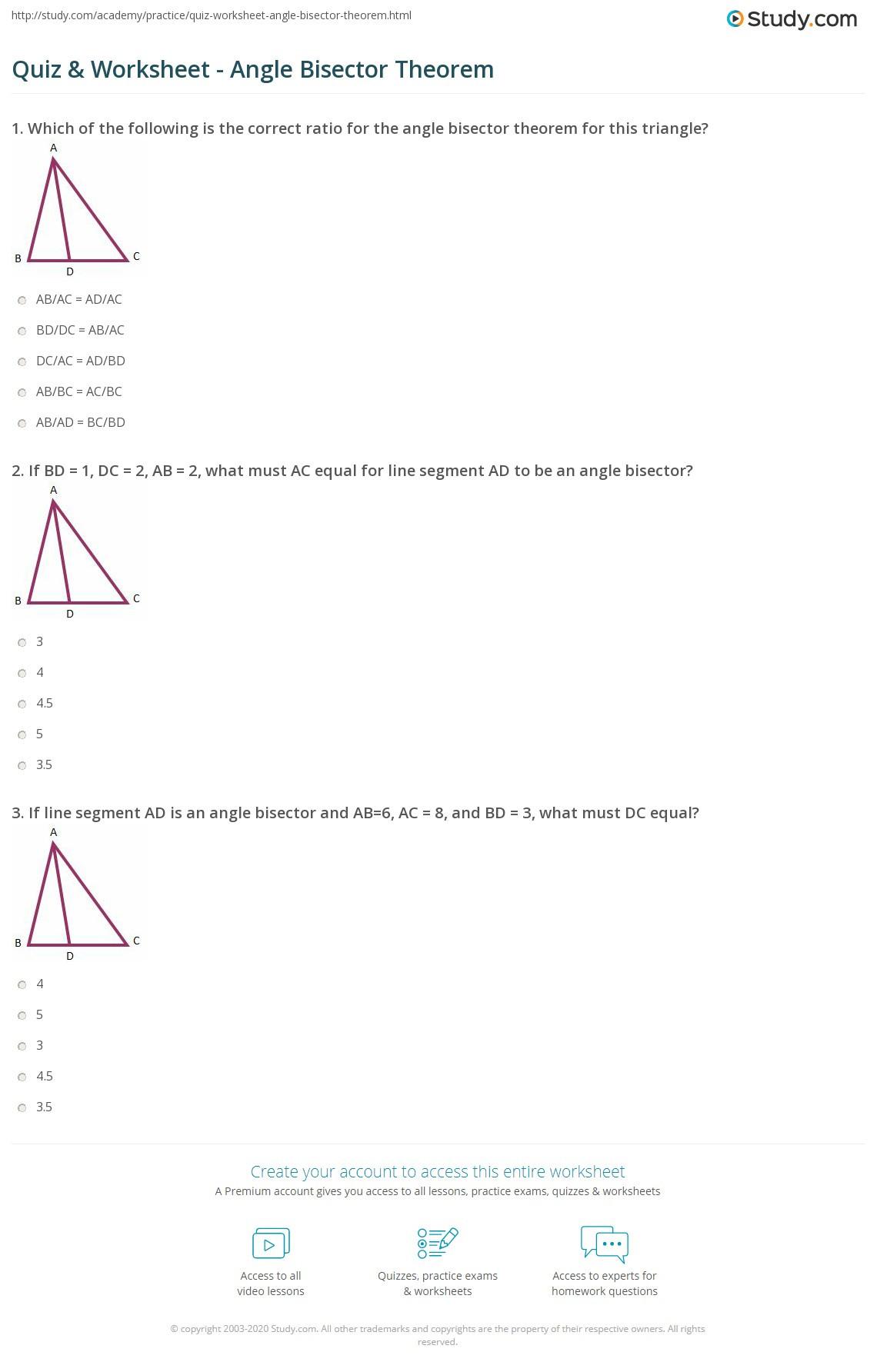 Angle Bisector Theorem Worksheet