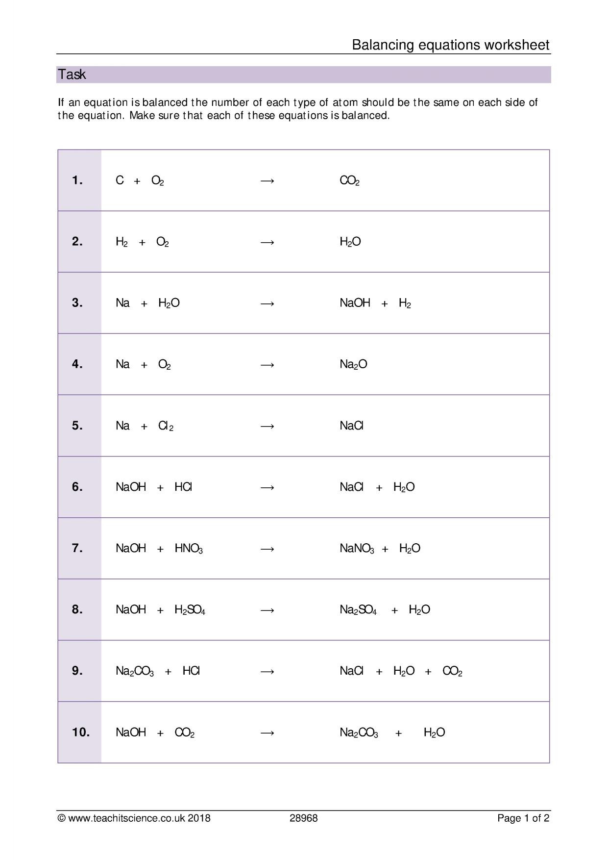 30 Balancing Chemical Equations Worksheet Answers