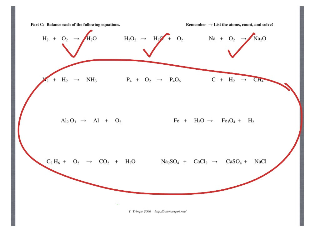Balancing Chemical Equations Worksheet Answers Education