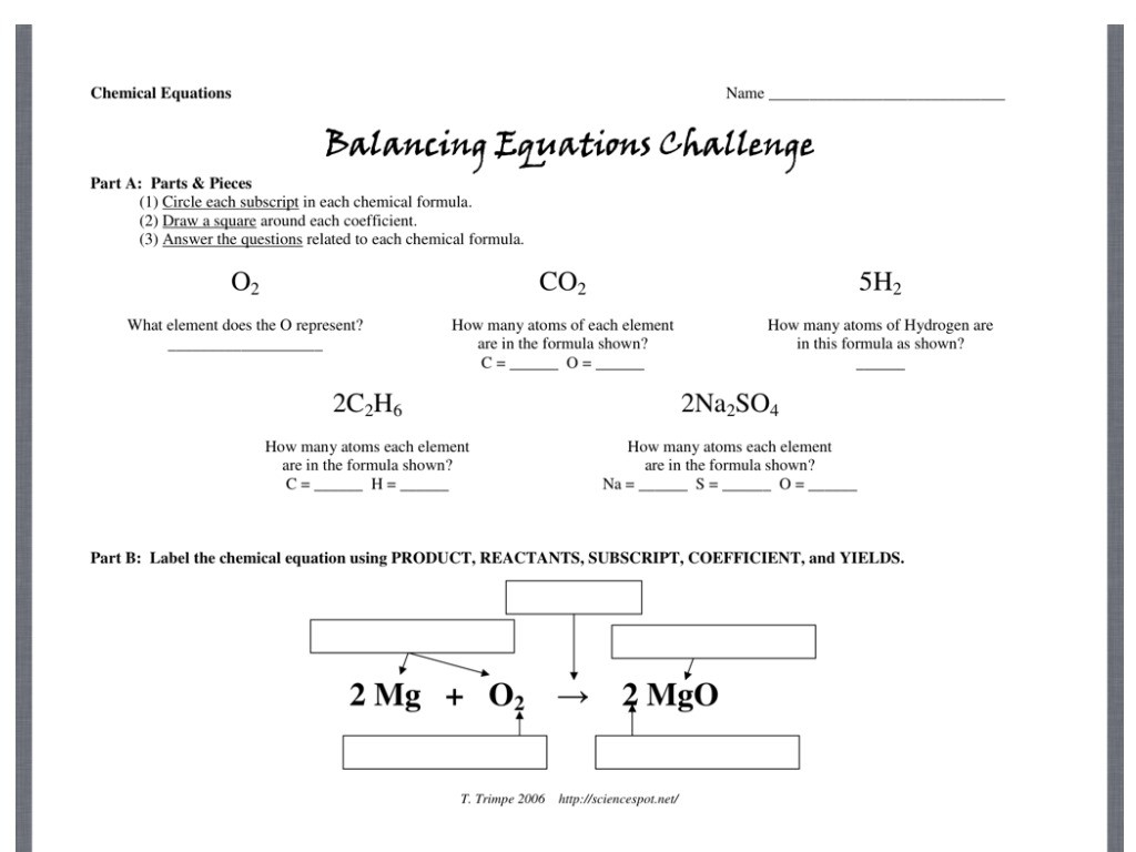 30 Balancing Equations Worksheet Answers Chemistry