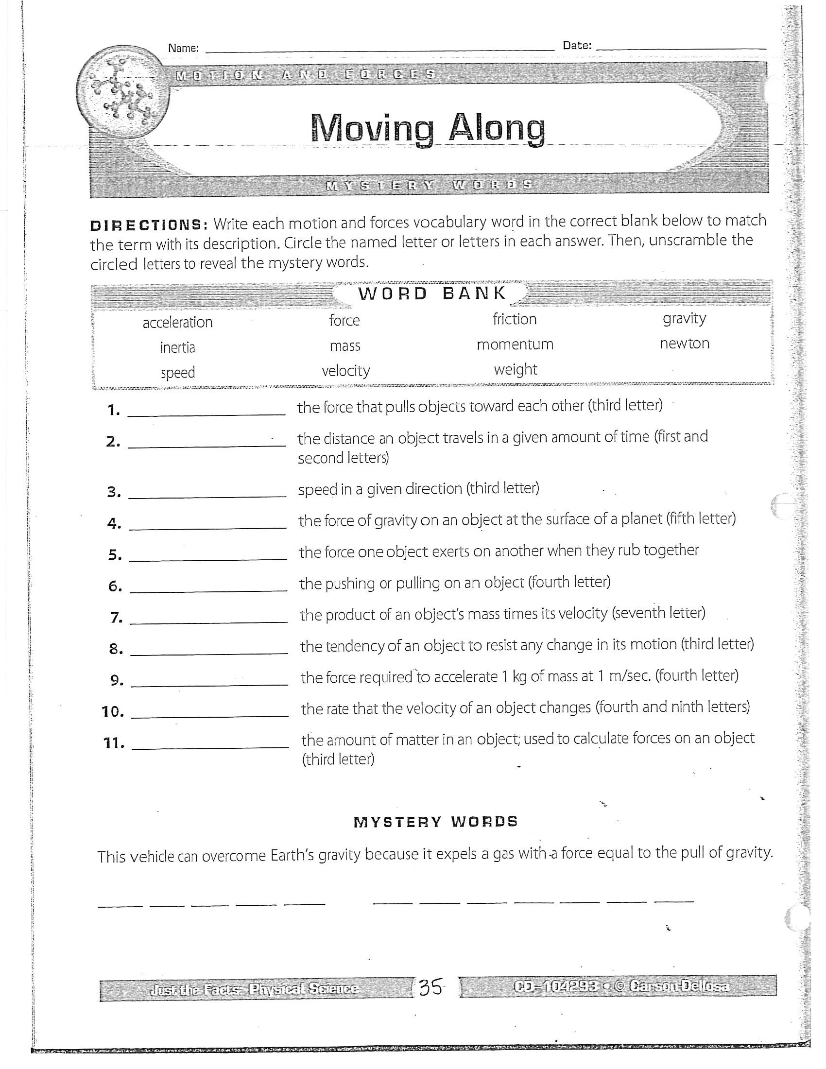 30 Bill Nye Motion Worksheet Answers