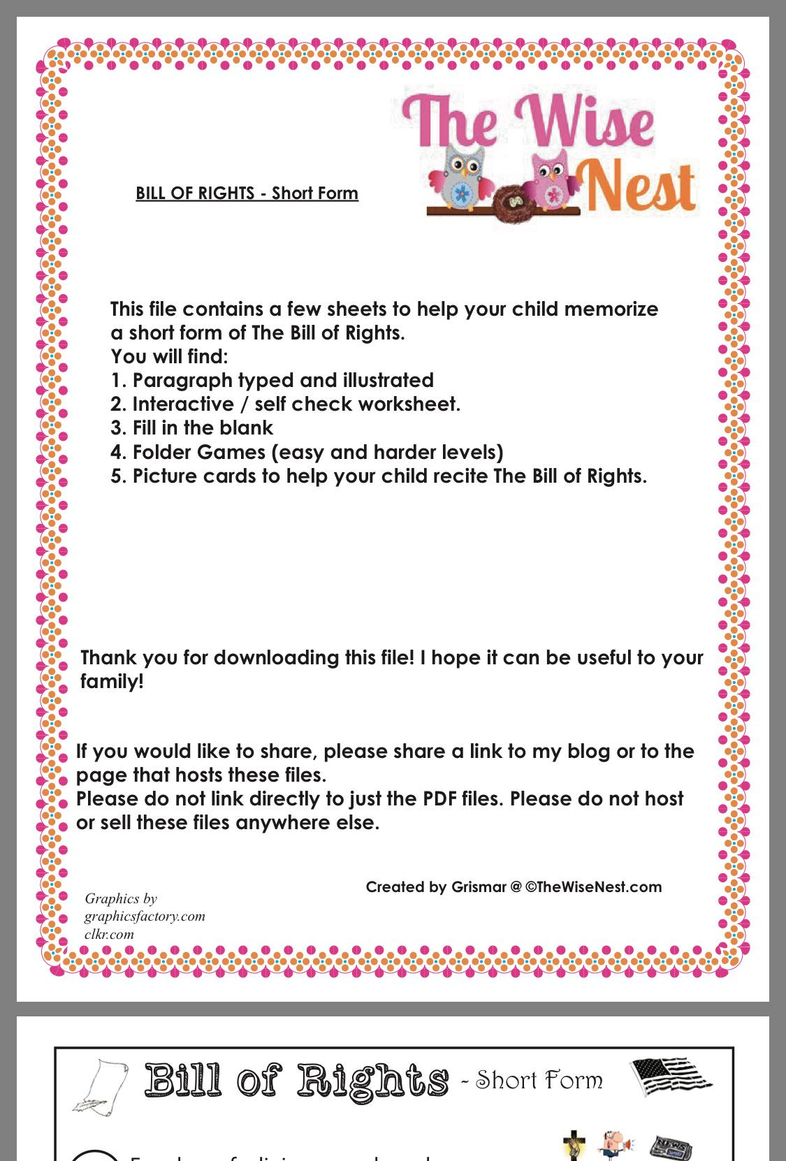 30 Bill Of Rights Worksheet