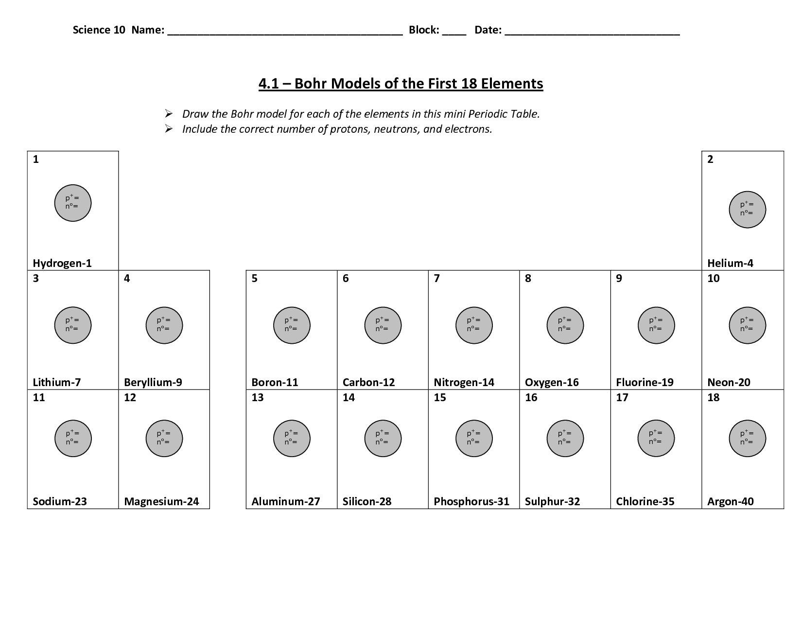 30 Bohr Model Diagrams Worksheet Answers
