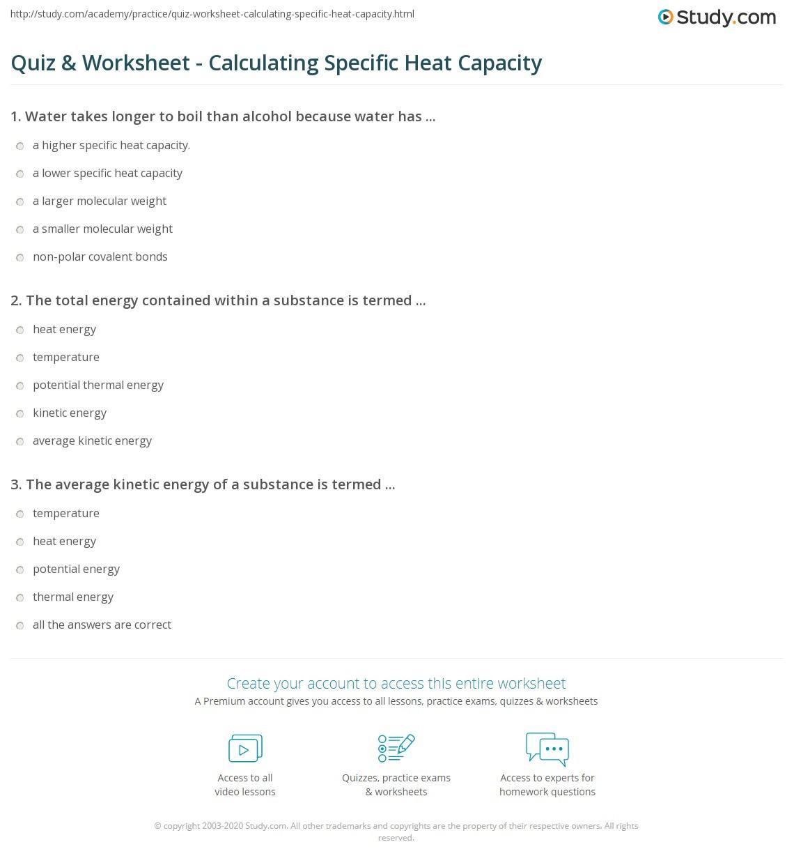 30 Calculating Specific Heat Worksheet