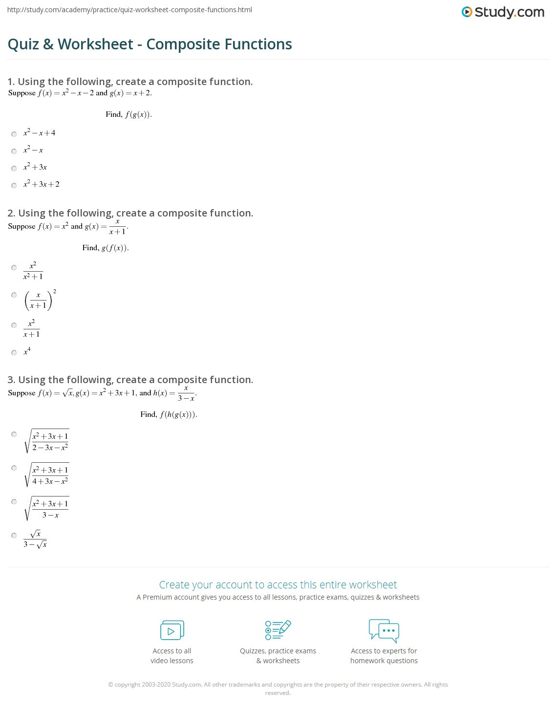 30 Composite Functions Worksheet Answers