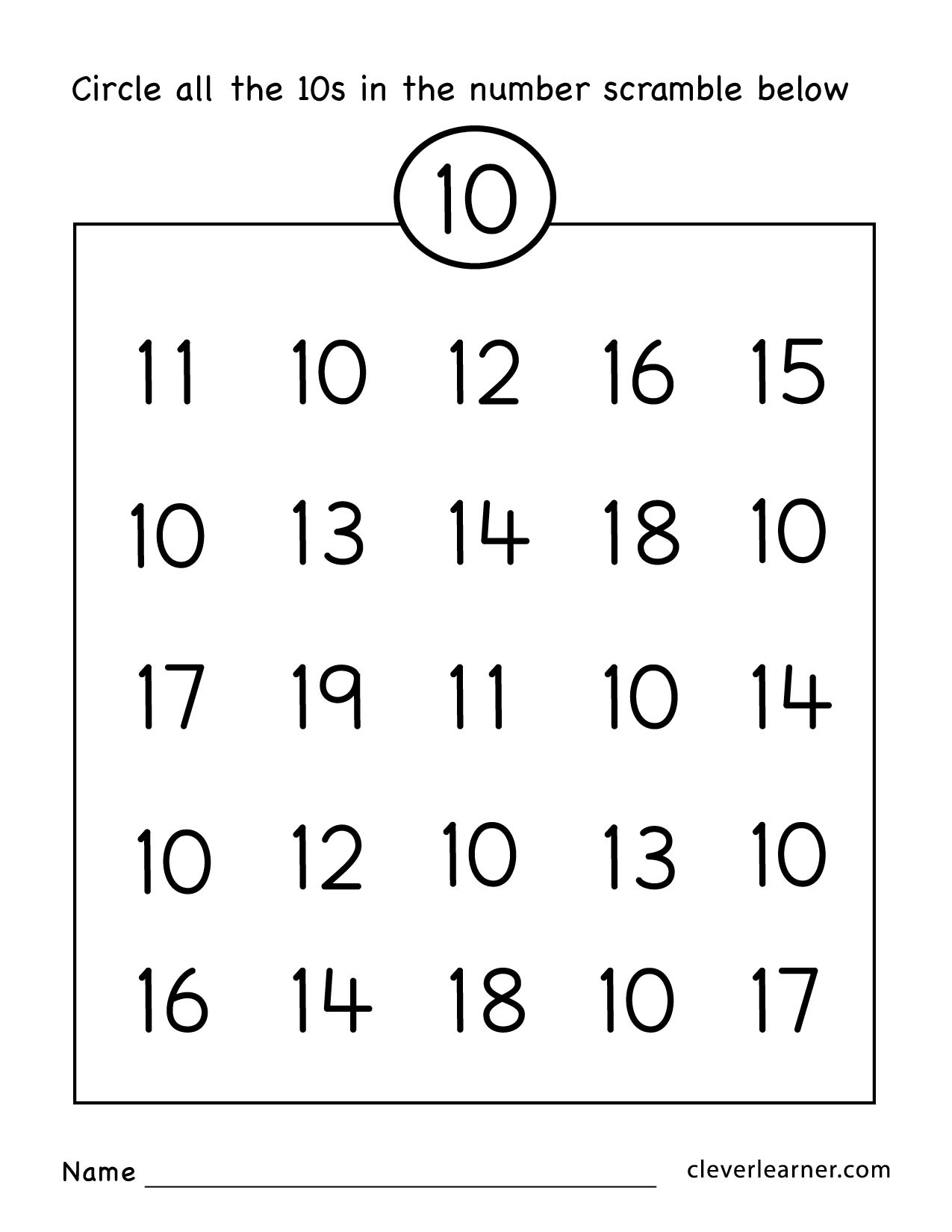 30 Counting By 10s Worksheet