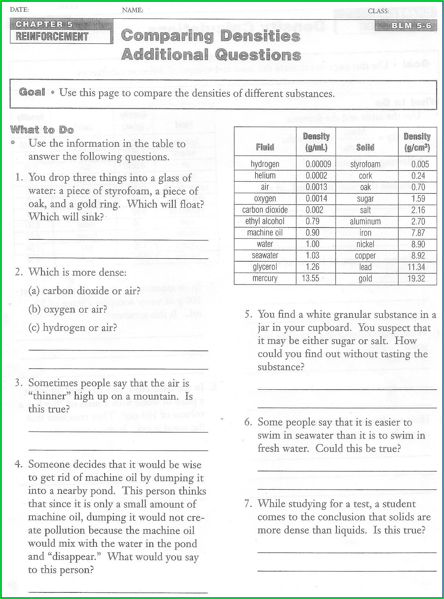 30 Density Practice Problem Worksheet Answers