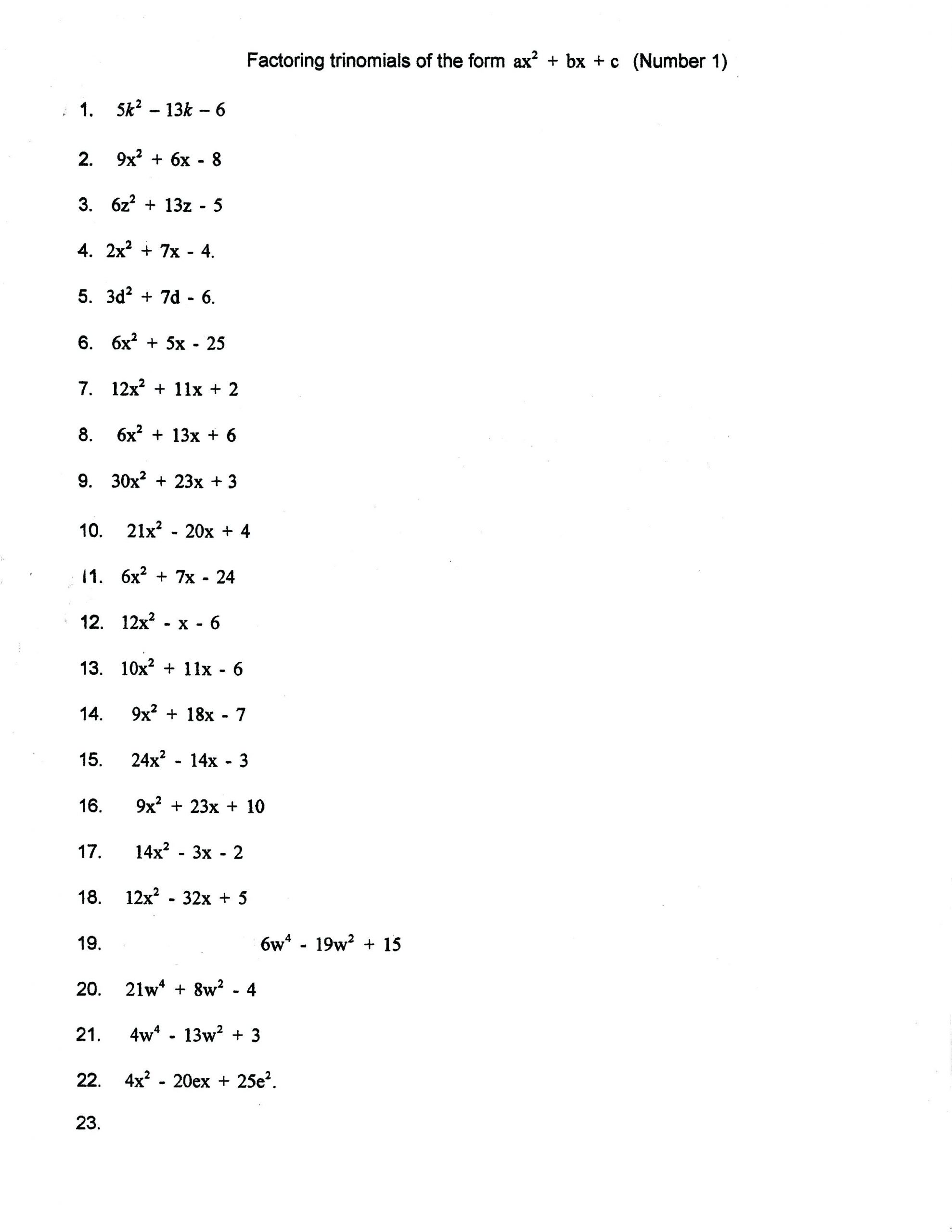 30 Factoring Polynomials Gcf Worksheet