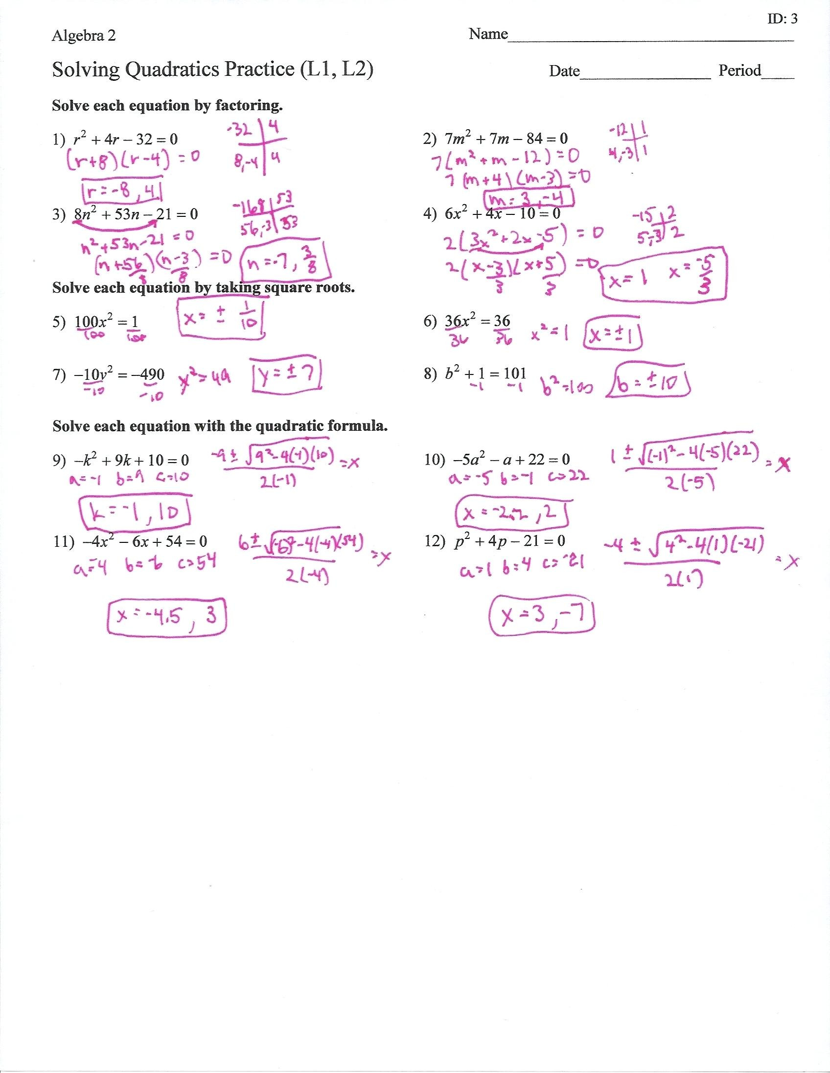 30 Factoring Quadratics Worksheet Answers