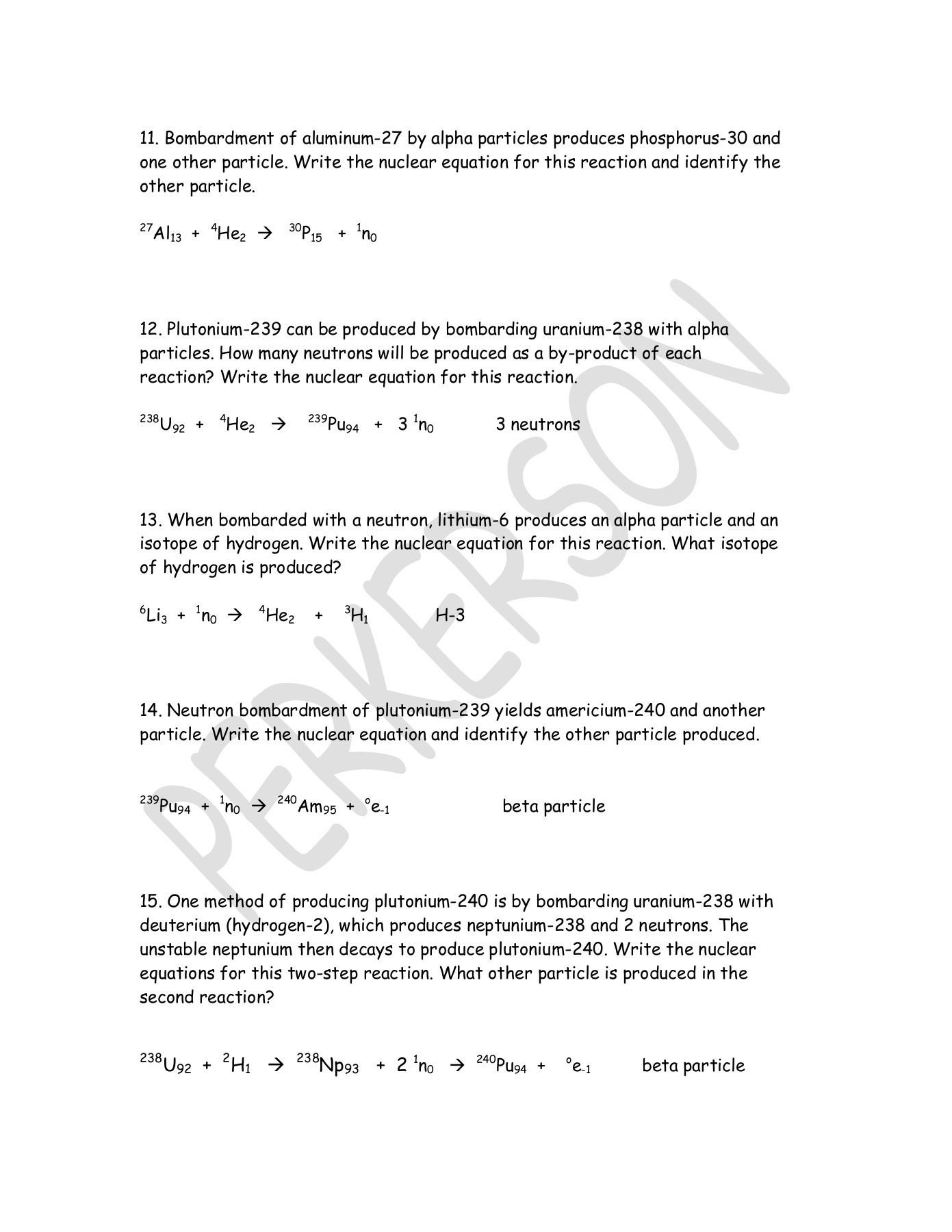 30 Half Life Worksheet Answers