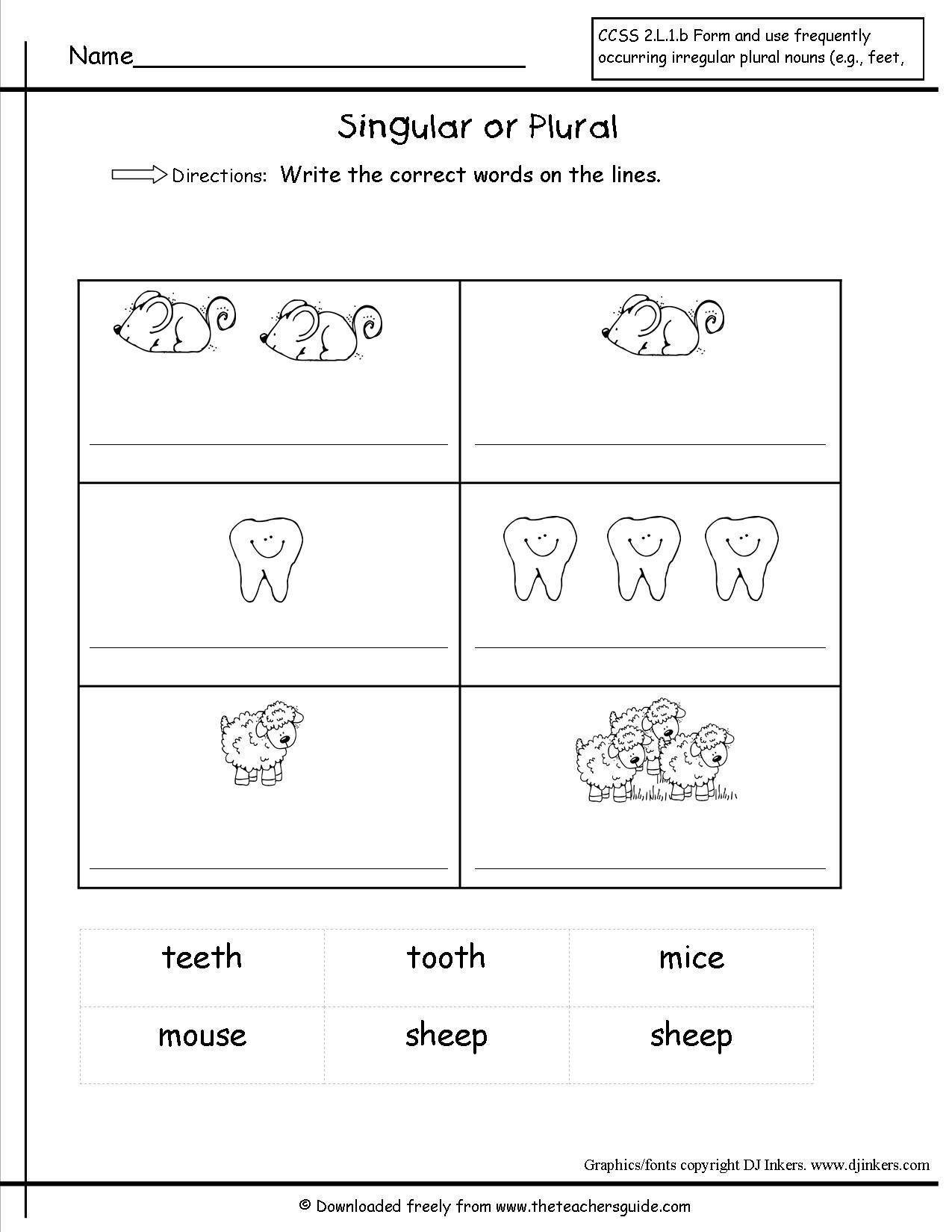30 Irregular Plural Nouns Worksheet