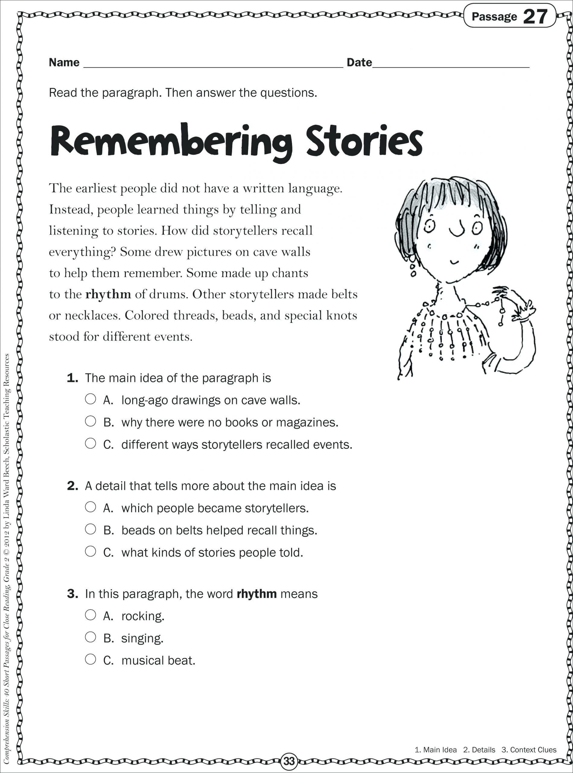 30 Main Idea Worksheet 2nd Grade