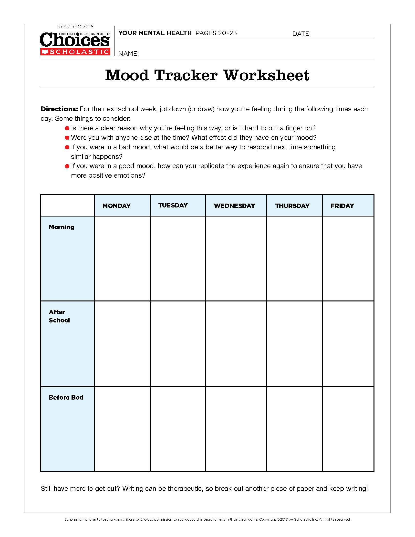 30 Mind Over Mood Worksheet